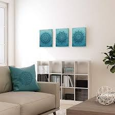 sumgar blaugrünes boho bilder mandala wandkunst für schlafzimmer blumen kunstdruck blumengemälde kunstwerk gespannt und gerahmt auf leinwand