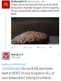 Roast Beef Curtain Meme by Savage Wendy U0027s Twitter Roasts Mcdonald U0027s New Claim Funny