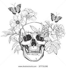 Skull Flowers And Butterfly Tattoo Art Coloring Books Hand Drawn Vintage Vector