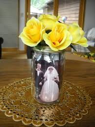 50th Wedding anniversary table centerpieces Mason jar with photos