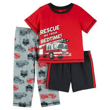 Toddler Boys' 3-Piece Firetruck Pajama Set - Red 4T - Just One You ...