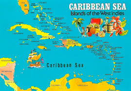 Caribbean Sea Islands Of The West Indies This Map Postcard Features