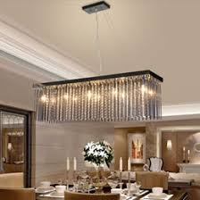 Crystal Lamp Rectangular Dining Room Pendant Lights Hotel Hall Table LED Light Modern Bar Bedroom