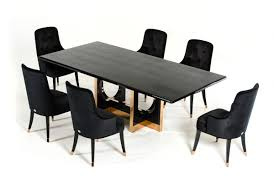 100 Large Dining Table With Chairs Modern Black High Gloss Crocodile And Rose Gold