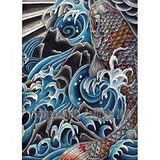 Koi In Waterfall Art Print By Sebastian Orth Japanese Style Tattoo Image Fish Water 5000