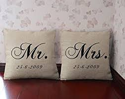 Mr and Mrs pillowcase Personalized throw pillow cover Custom