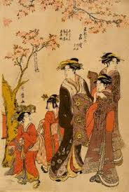 Japan Courtesans Strolling Beneath Cherry Trees Before The Daikokuya Teahouse 1789 By Kitagawa Utamaro