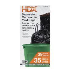 Drawstring Black Trash Bags 35 Count