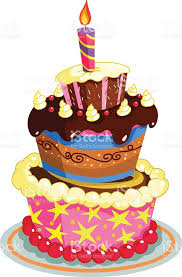 Birthday cake with colorful illustration royalty free birthday cake with colorful illustration stock vector art