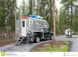 100 Truck Camper Camping Selfmade Yellowstone National Park WY USA Editorial
