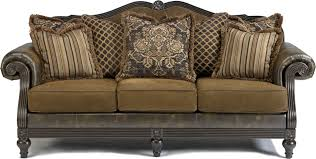 Claremore Sofa And Loveseat by Glynallen Teak Traditional Sofa With Roll Arms U0026 Wood Trim Accents