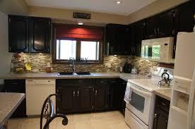 Cool Ceiling Kitchen Lighting Over Teak Wooden Finished Espresso Cabinets With Gray Tiled Backsplash Also