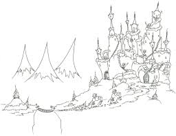 Coloring Pages Monkeys Bringing A Christmas Tree To Their Castle