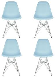 Emodern Decor Shell Side Chair by Set Of 4 Dsr Light Blue Mid Century Modern Dining Shell Chair W