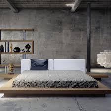bedrooms industrial modern bedroom with gray bed and diy wood
