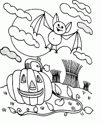 Halloween Spooky And Scary Bat Coloring Page