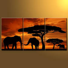 RAIN QUEEN Modern Abstract Art African Prairie Elephants Sunset Trees Landscape Oil Paintings On Canvas Wall