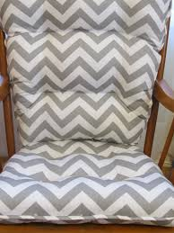 tufted rocker rocking chair cushion set in gray and white chevron