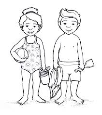 Kid Body Drawing Two Children At The Beach
