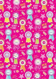 Glitter Rosette Pink Gift Wrap