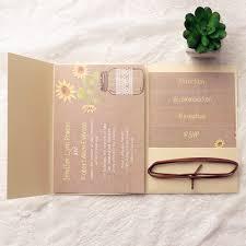 Gold Pocket Lace Sunflower Rustic Wedding Invitations EWPI137