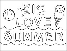 I Love Summer Coloring Pictures