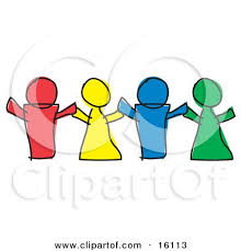Red Yellow Blue And Green Paper Dolls Or Children Holding Hands Clipart Illustration By Andy Nortnik