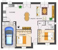 plan maison plain pied 2 chambres plan maison plain pied 2 chambres garage immobilier pour tous