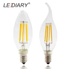 lediary 4pcs high lumen dimmable c35 e14 led filament candle bulb