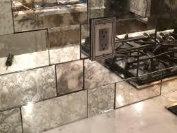 antique mirror backsplash installed