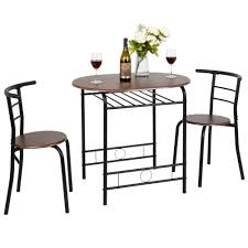 FCH 3 Piece Dining Set Dining Table With 2 Chairs Breakfast Bistro Pub  Table And 2 Chairs (Brown)