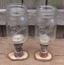 Rustic Style Redneck Wine Glasses Walnut Stems By DanielsVintage 1400