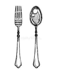 Download Fork And Spoon Hand Drawing Vector Stock Vector Illustration of fork background