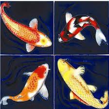 benaya ceramic tile coasters koi fish 521303 32 00