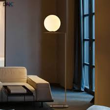 Image Is Loading Modern Glass Globe Floor Lamp Gold Metal Dining