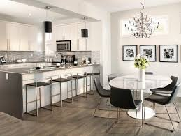 Natural Motif In Grey Laminate Flooring Kitchen And Dining Room With Floor