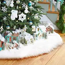 LITTLEGRASS 30 36 48 60in Christmas Tree Skirt White Faux Fur Luxury Soft