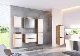 lomado badezimmer komplett set lourosa 03 in wotaneiche nb mit matt weiß inkl led beleuchtung mineralgussbecken b h t ca 200 200 47 cm