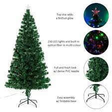 6ft Pre Lit Christmas Trees Black by Homcom 6ft Pre Lit Led Optical Fiber Christmas Tree Artificial