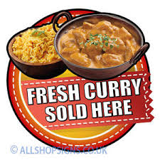 cuisine soldee fresh curry indian food sold here catering sign window sticker