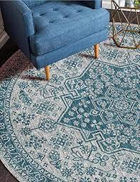 dmqpp traditioneller vintage teppich rund weich blau