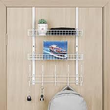 tür handtuchhalter mit 2 körben kleiderhaken badezimmer organizer zum aufhängen handtaschen schlüsseln hüten weiß