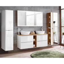 badezimmer set weiß hochglanz mit keramik doppel waschtisch toskana 56 led touch spiegel bxhxt ca 260 190 48cm