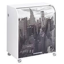 bureau informatique compact meuble informatique à roulettes 79 2 cm blanc rideau imprimé
