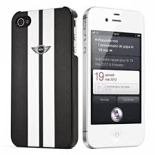 arriere etui housse mini cooper racing noir et blanc iphone 4