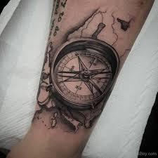 Realistic Grey Compass Tattoo On Sleeve