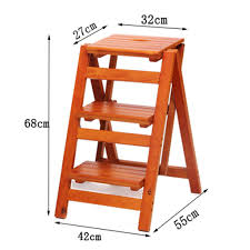 Chair-Solid Wood Folding Step Staircase 3 Layer Ladder Step ...
