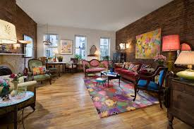 Eclectic Rustic Living Room Victorian With Wood Flooring Floral Upholst