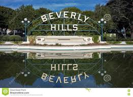 100 Holmby Hills La Beverly Garden Park Sign Reflecting On Water Editorial