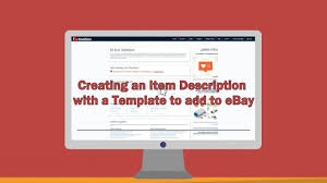 Creating An Item Description With A Template To Add EBay On Vimeo